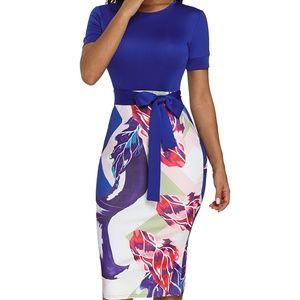 Royal Blue Print Midi Dress